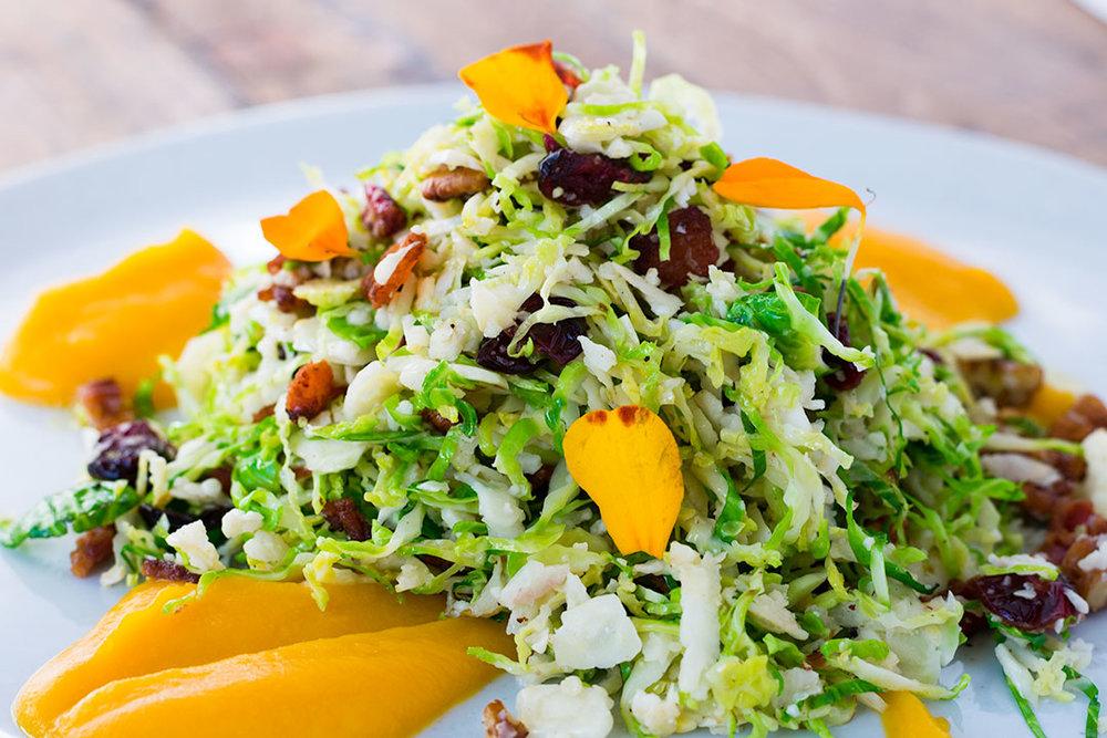 CB Cuisine Warm Shaved Brussels Sprout & Cauliflower Salad I Bacon I Cranberries I Toasted Pecans I Lemon Olive Oil Dressing