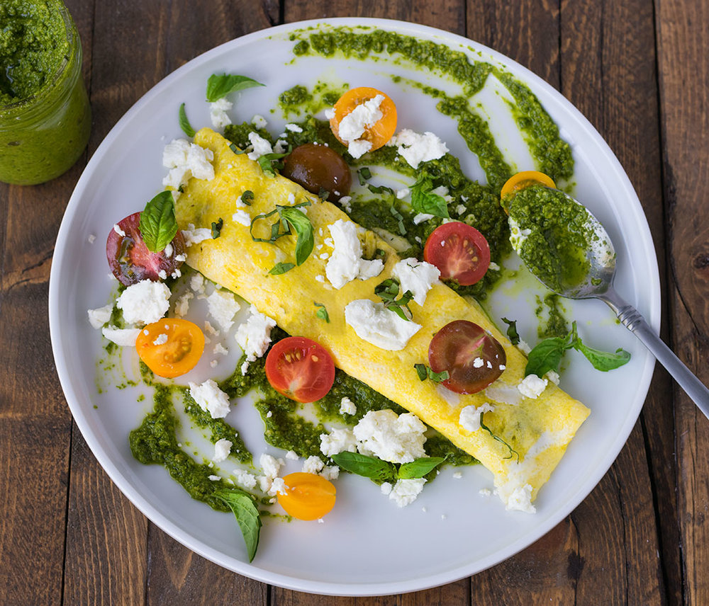 Chef Cody Beverstock I CB Cuisine I Garden Fresh Herb Omelette I Sunflower Seed, Spinach & Basil Pesto I Cherry Tomato I Goat Cheese Recipe