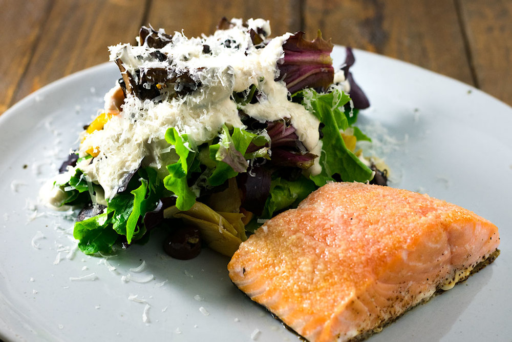 Chef Cody Beverstock I CB Cuisine I Baked Salmon I Mediterranean Salad (Artichokes, Toy Peppers, Kalamata Olives, Wild Mushrooms, Parmesan) I Lemon Honey Tahini Dressing Recipe