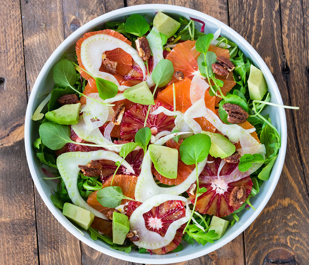 "Chef Cody Beverstock I CB Cuisine I ""Winter's Light"" Citrus Salad with Blood Orange & Cara Cara, Avocado, Endive, Fennel, Watercress, Candied Pecans, Spiced Citrus Vinaigrette Recipe"