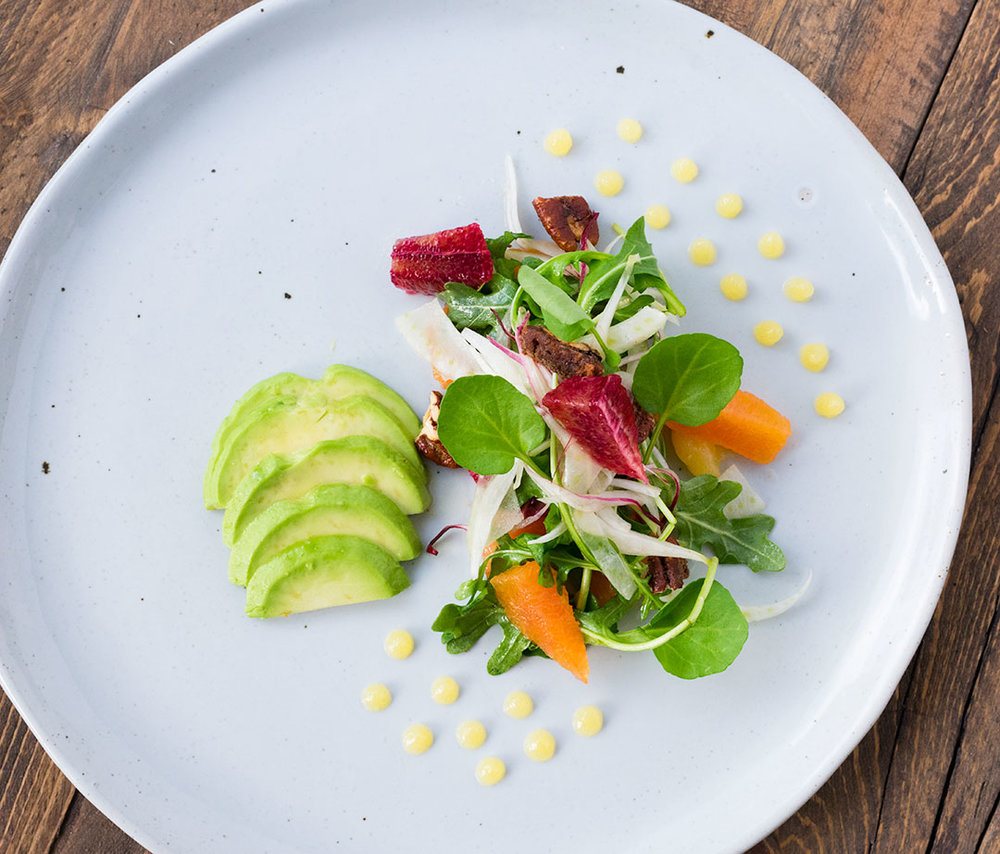 "Chef Cody Beverstock I CB Cuisine I ""Winter's Light"" Citrus Salad with Blood Orange & Cara Cara, Avocado, Endive, Fennel, Watercress, Candied Pecans, Prosecco Citrus Gel & Spiced Citrus Vinaigrette Recipe"