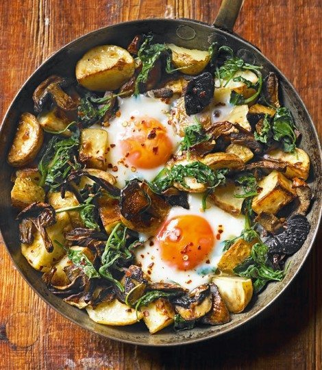 baked-eggs-with-mushrooms-spinach