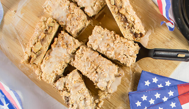Nothing says Happy Birthday America like apple pie. These bars allow for the delicious 4th of July staple to be taken on-the-go, from the boat, to the beach, to the neighbor's cookout by the pool.
