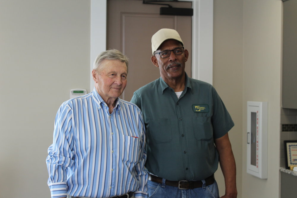 Gene Braswell stands alongside Roland Ellis at his retirement party in April. Roland began his career at Braswell in 1968, serving a total of 50 years to our company.