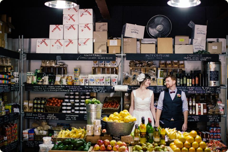 Bride & Groom in Grocery Store