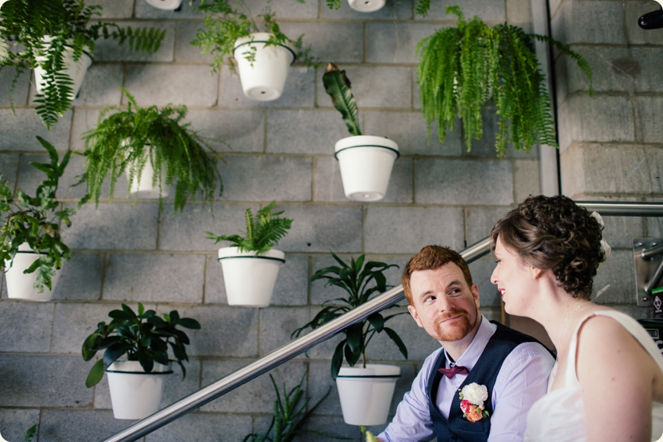 Bride & Groom with Pot Plants