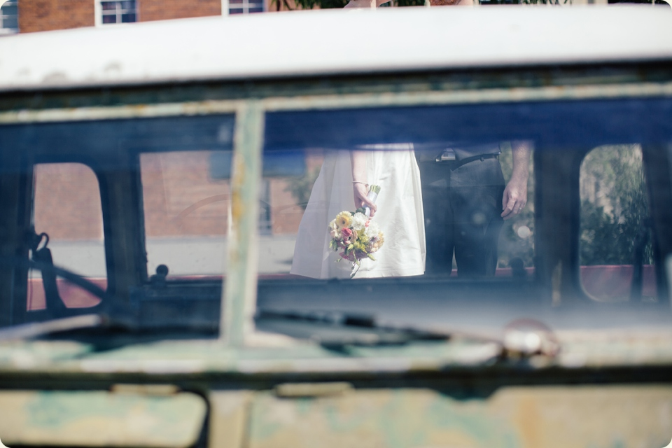 Bride & Groom through Car Window