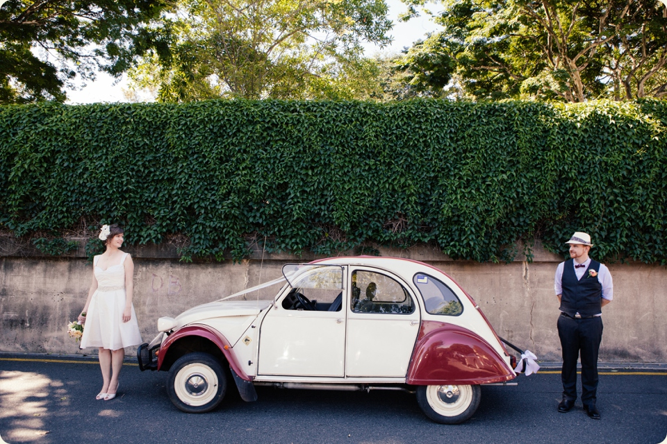 Bride & Groom with Old Citroen