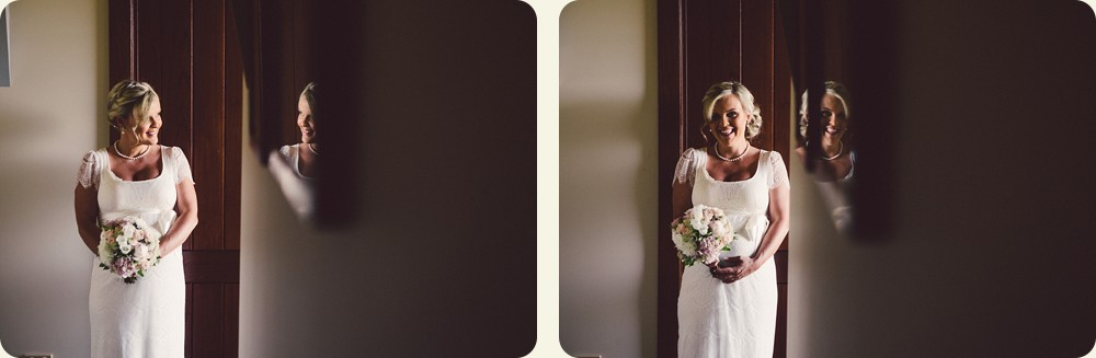 Bride poses at Spicers Peak Lodge