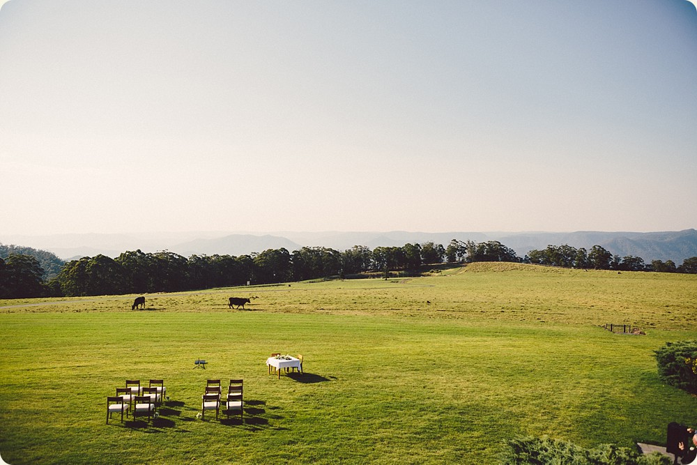 Ceremony setup with beautiful outlook at Spicers Peak Lodge