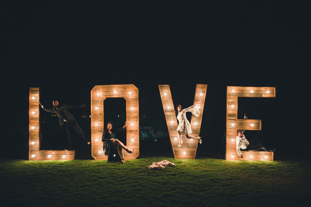 LOVE letter sign at country wedding