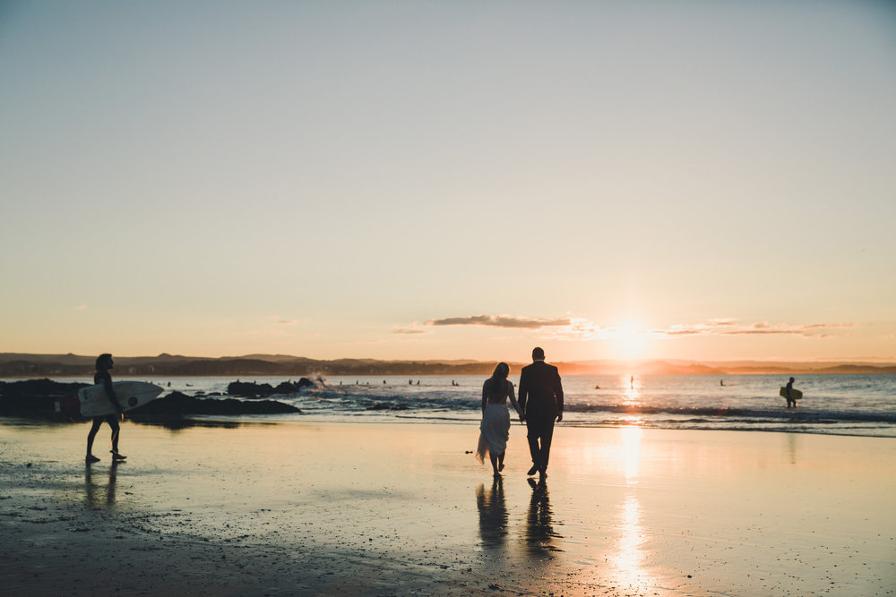 Bride and Groom on Gold Coast Beach at sunset