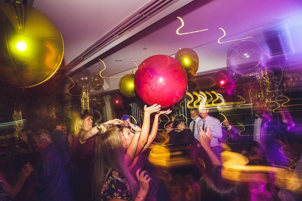Wedding dance floor with giant balloons at Blackbird in Brisbane