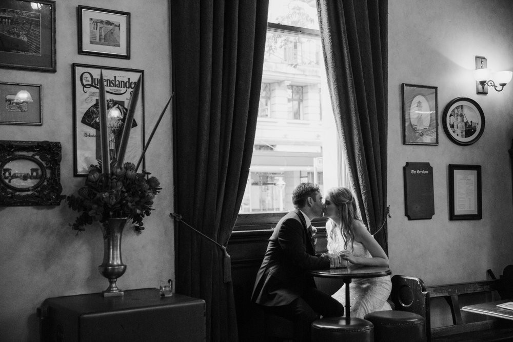 Bride and Groom in bar