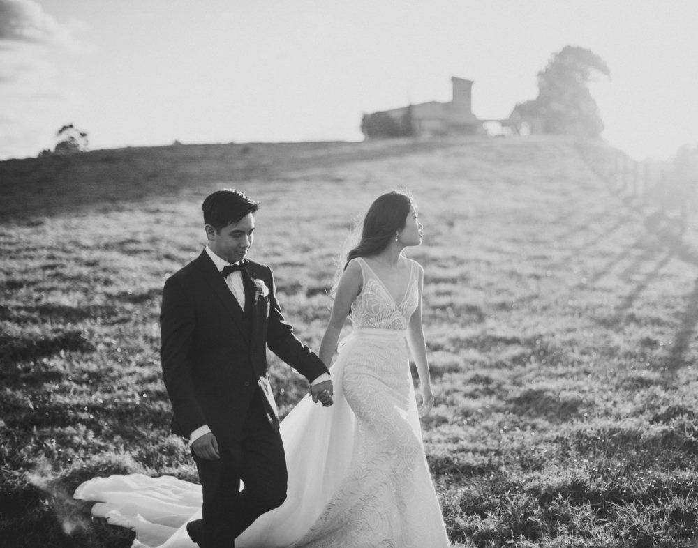 Bride and Groom walking in Maleny