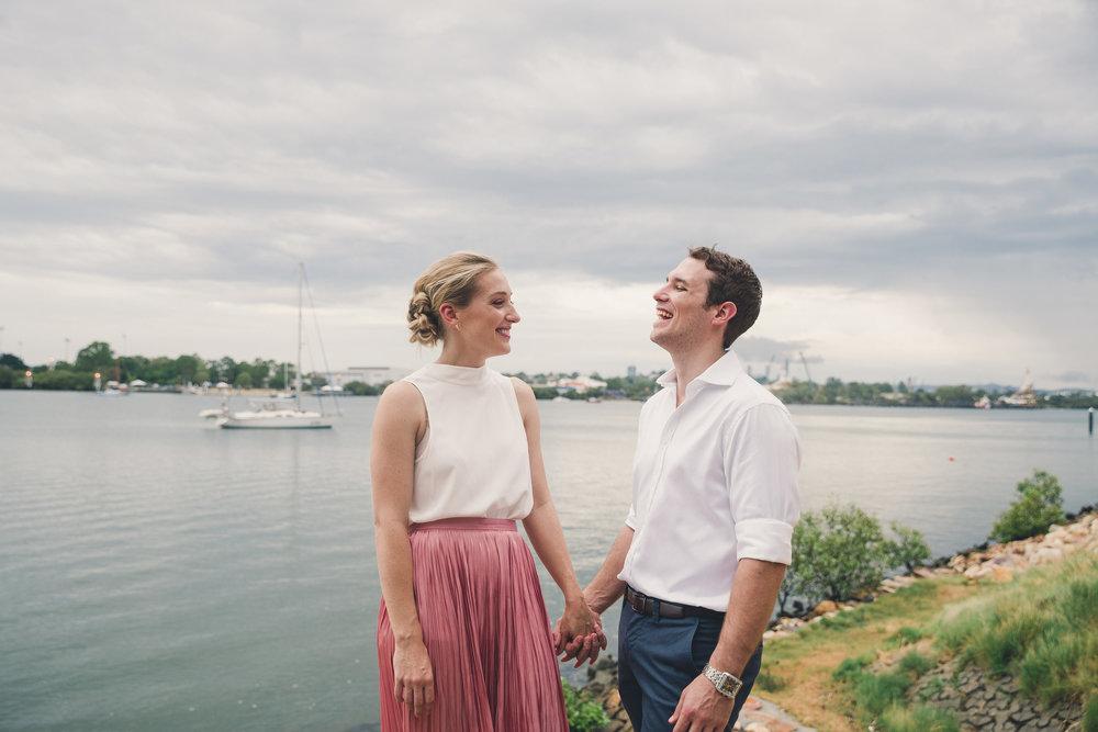 Couple portrait by Brisbane river