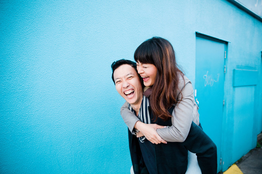 Fun and colourful engagement photo