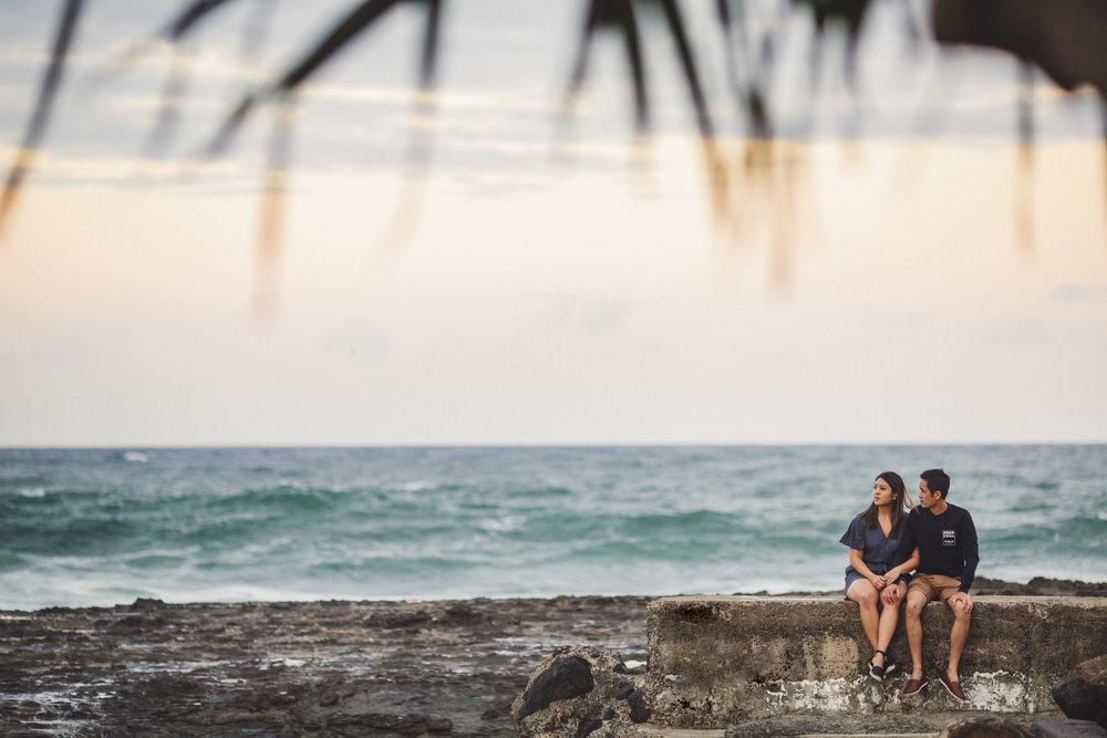 Engaged couple on beach