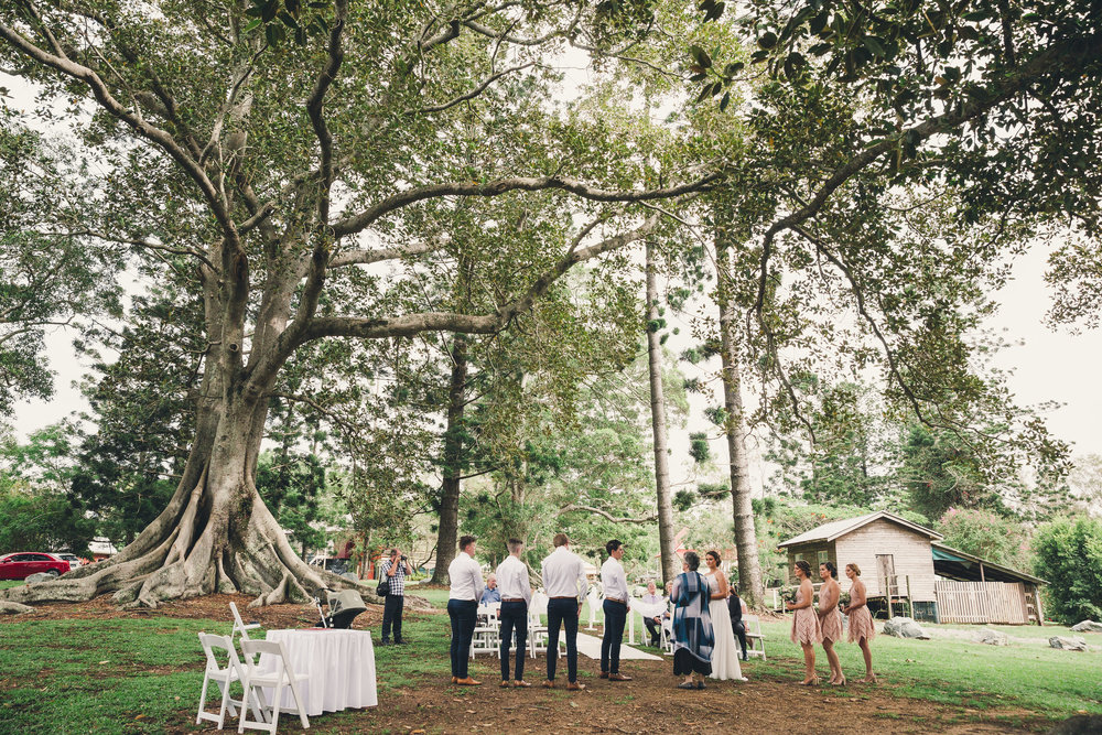 small wedding ceremony at Old Petrie Town