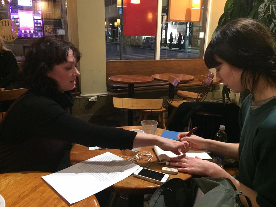 Kathleen Kelley and Veronika Tybell plan for NYC/Stockholm exchange project. Photo by Janessa Clark.