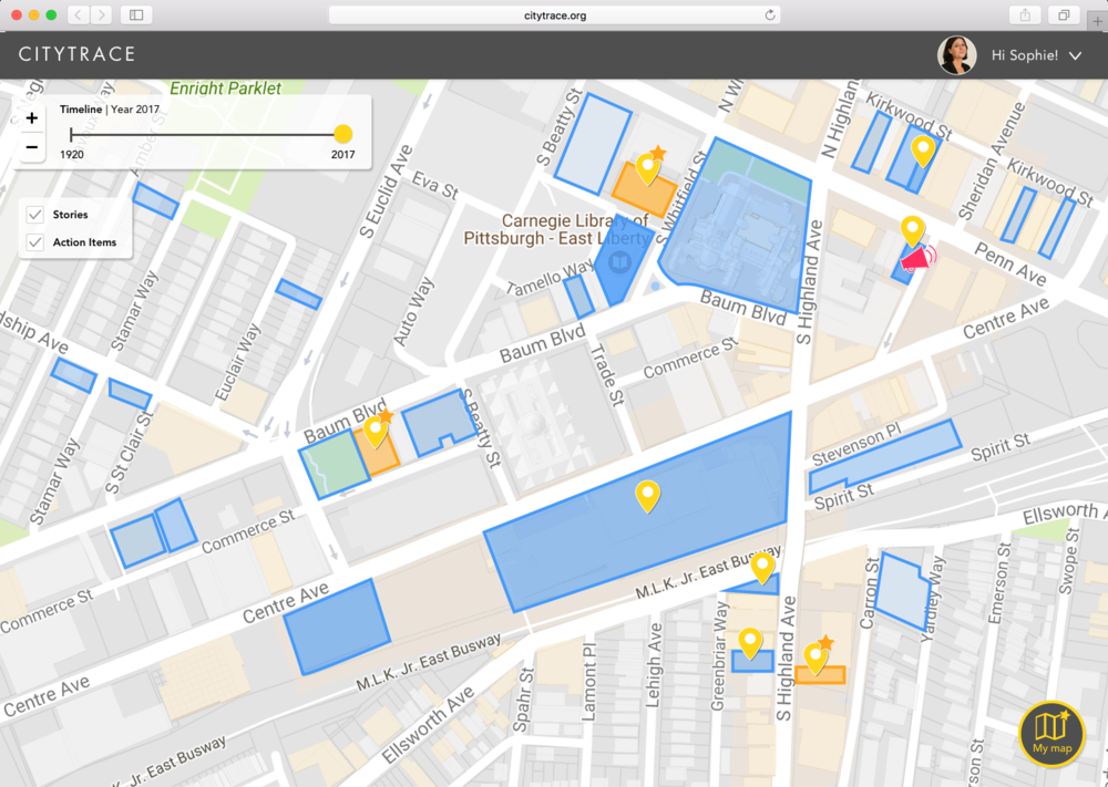 CityTrace Map that delineates the places where stories and action items are shared