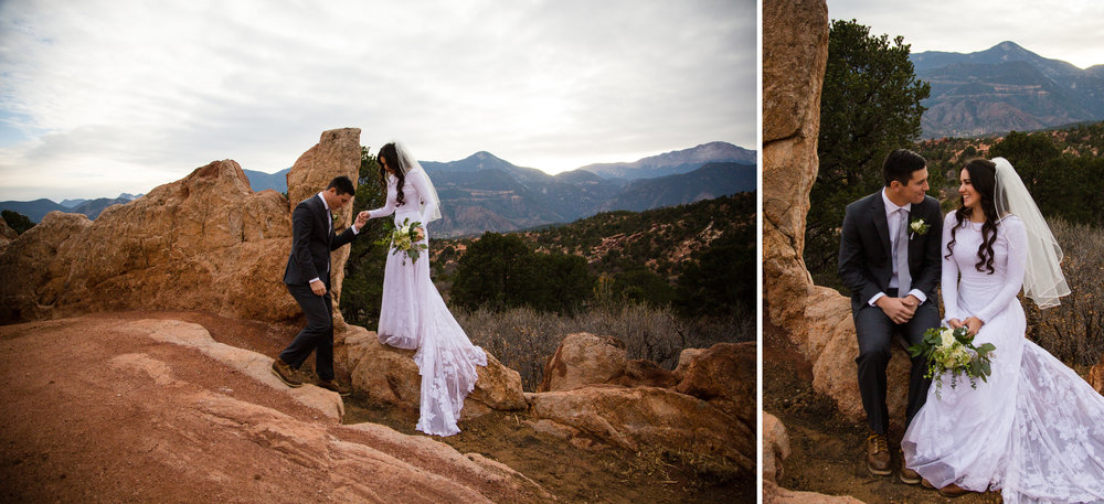 After creating some gorgeous images for the two of them, we headed over to the  Garden Of The Gods  park to join their families for the ceremony.