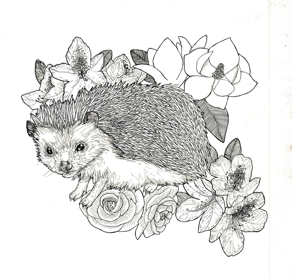 Midge with favorite flowers - Ink & Paper