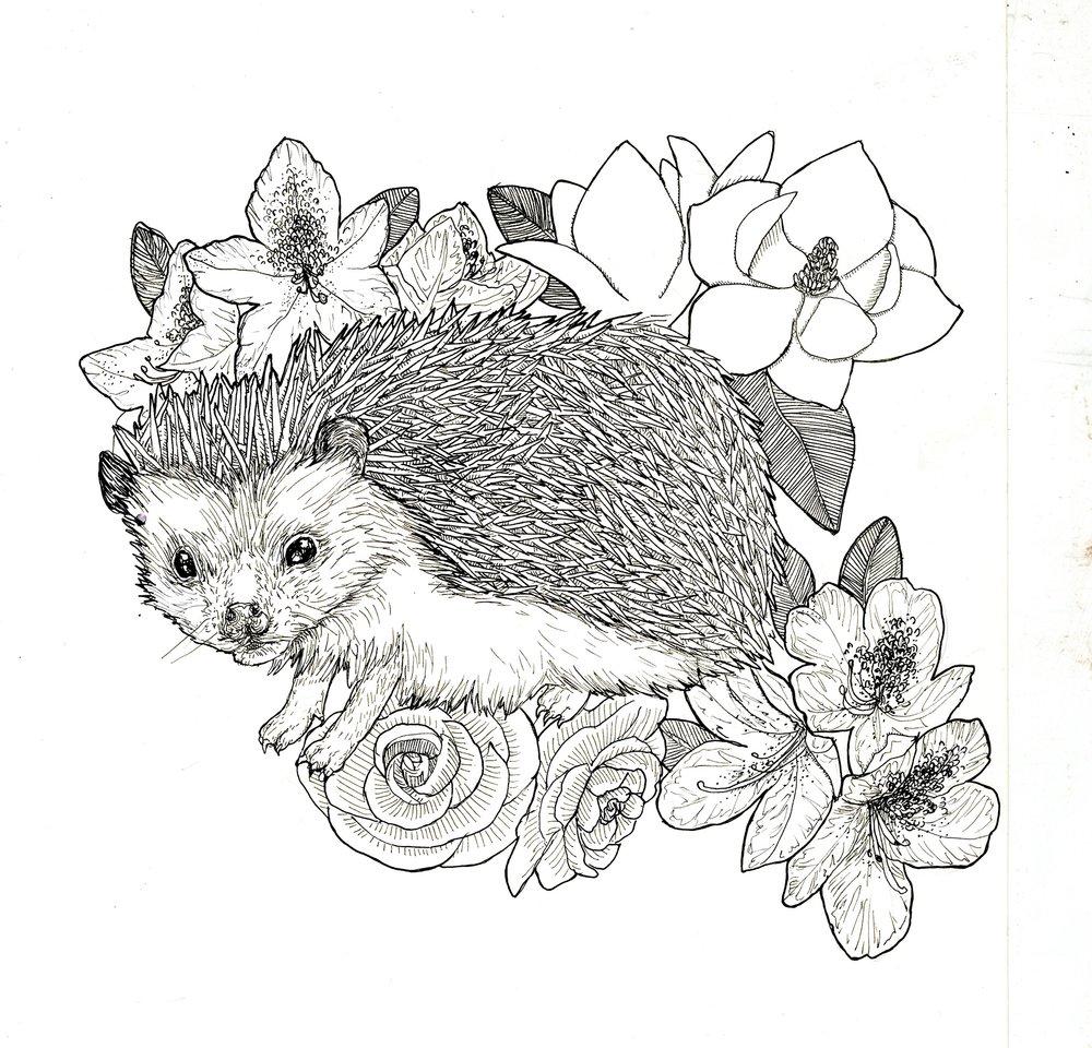 Midge with favorite flowers - Ink