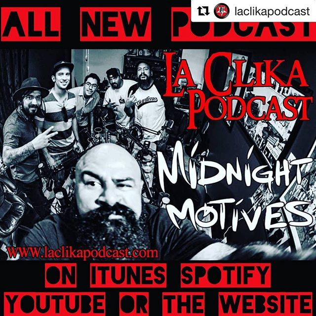 """Win a pair of FREE tickets to our show this Wednesday 9/19!  Follow @laclikapodcast and repost! Listen to our episode and subscribe. #Repost @laclikapodcast with @get_repost ・・・ All new La Clika Podcast..We sat down with members of Midnight Motives and had an intellectual conversation regarding their song, """"2 hookers in San Francisco"""" and how the band came to be.. just like some of the members of La Clika, Midnight Motives originated from the same small town of Huntington Park, CA. Sham at work while you enjoy the latest La Clika Podcast with Midnight Motives.. link in bio  Check them out live on Wednesday 9/19 at Alex's Bar in Long Beach, CA.. @alexbar_lbc New album """"Visions"""" will be out on 9/19 as well. @midnight_motives  #laclikapodcast #podcast #hp #stylebloggers #fashion #laclika #internetradio #akg #bassplayer #guitarplayer #tascam #drummer #bass #drumlife #midnightmotives #whisky #conversation #picoftheday #mesaboogie #monday #mondaymotivation"""