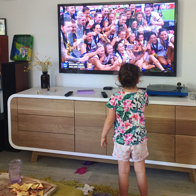 Lulu watching the post AFLW Grand Final Party