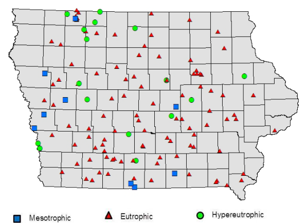 A white paper by the Iowa Department of Natural Resources Lake Monitoring program found only 9 of 130 lakes surveyed has mesotrophic conditions.