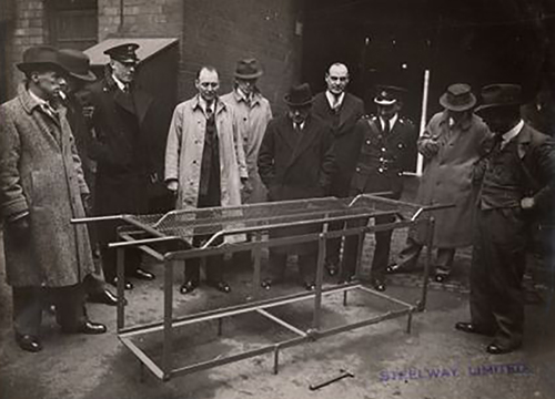 Manufacturers Steelway demonstrating the APR Stretchers ( Museum of St John )