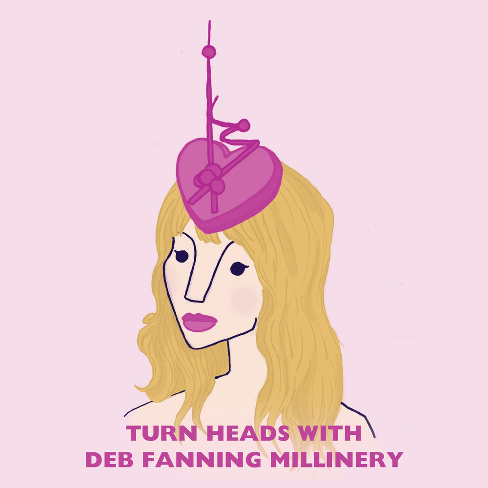 "DEB FANNING MILLINERY - Promotional Illustration for Deb Fanning Millinery, featuring a hat from her SS16 collection. Deb makes amazing ""Vintage Inspired hats with a Contemporary Edgy Twist"". Check out her collection here."