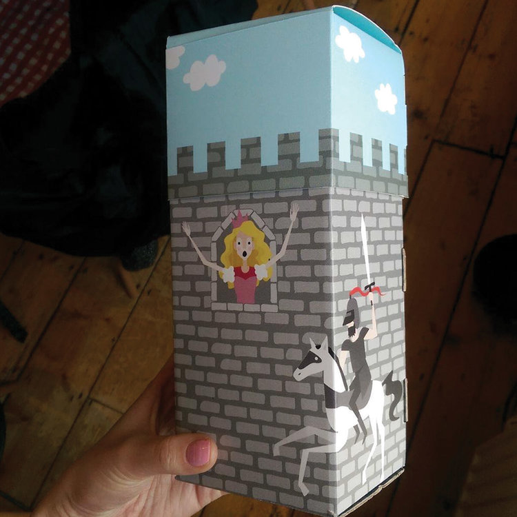 HORIZON DIGITAL PRINT PROMOTION - Flying the flag for Irish design. An illustrated box of sweets in the shape of a castle, used to promote Irish design & Horizon digital print.