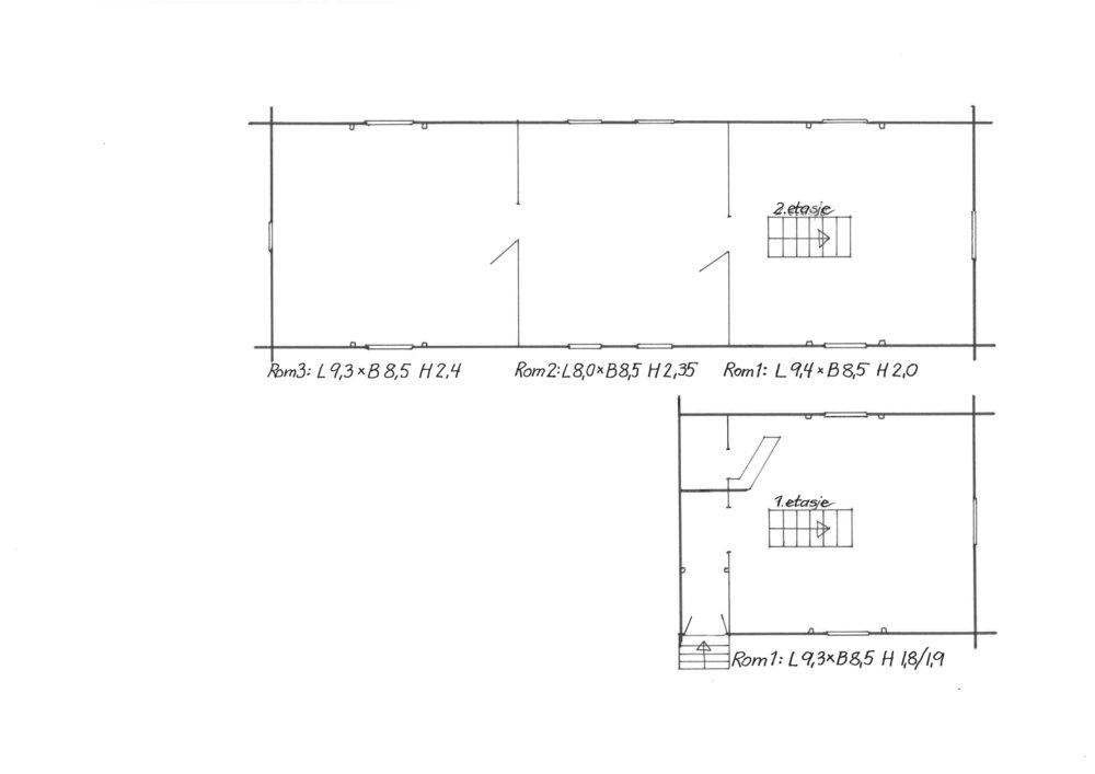 Romplan for Galleri Gamle Tomb i Råde. Rom 1 i første etasje, rom 1, 2 og 3 i andre etasje.