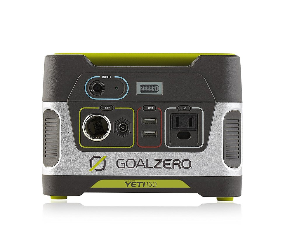 Goal Zero Yeti 150 - I purchased this awhile ago for a company photoshoot we did. We were going to be out in the middle of nowhere, during the winter, with no ability to recharge our equipment other than from the car. I have used it a few times since and it's great for when you're going to be away from a plug for a prolonged period of time. It's certainly a little pricey but very worth the money.
