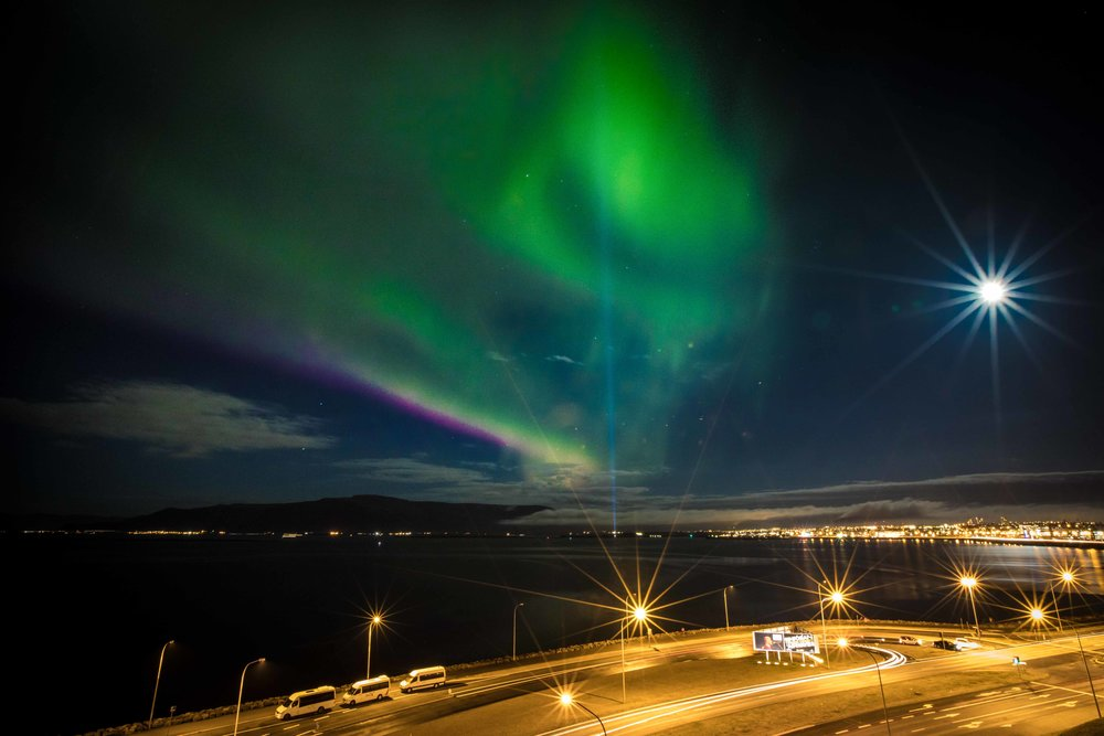 Canon 5D Mark IV, 18mm | f/22, 30 sec, ISO 1250  The only chance I had to get the Northern lights during my Iceland trip was the very first night.  These were seen just above my hotel in Reykjavik.