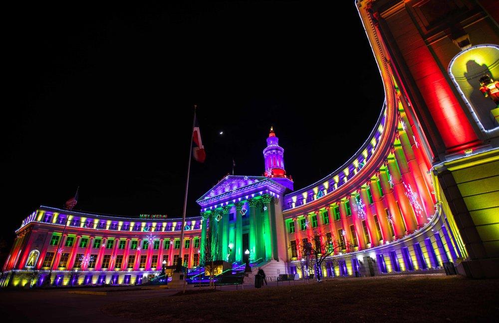 The Denver Court House around Christmas Time