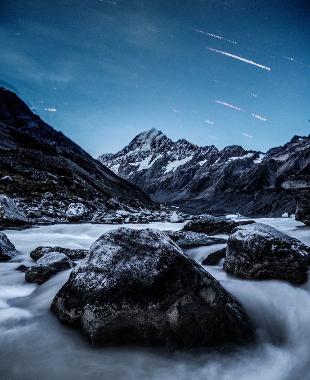 Composite shot of Mt. Cook at night. This was taken with the a6500 on a time lapse.