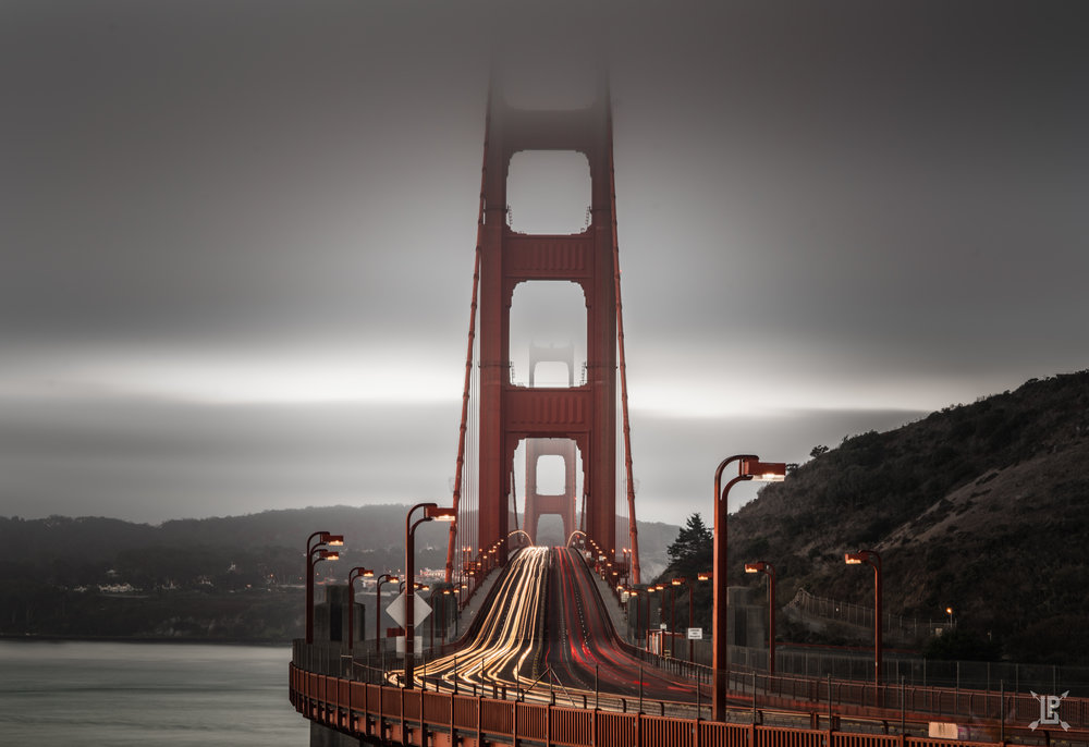 I took this one from the Golden Gate Bridge Vista Point.  If you want to get this shot I'd recommend bringing a 90mm or higher lens.  To get this shot I used a 90mm lens with a tripod and used a shutter release to get a nice long exposure.