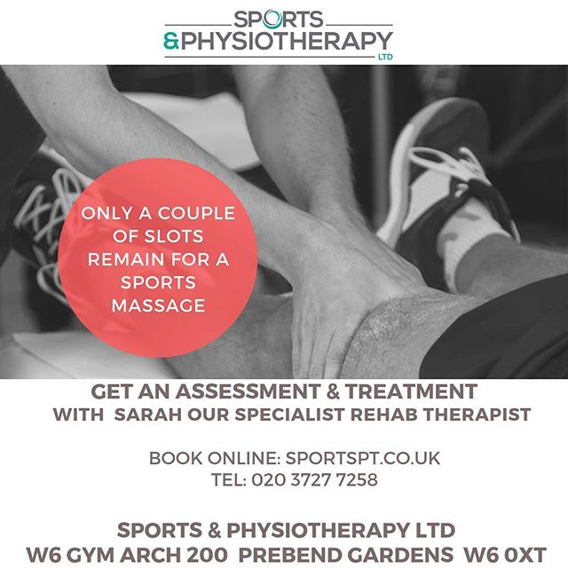 We a couple of slots left this evening for Sports Massage with the amazing Sarah. Rumours have it she has healing hands.  #chiswick #sportsmassage #massage #w4 #hammersmith #runner #marathon #marathontraining #fitness #recovery