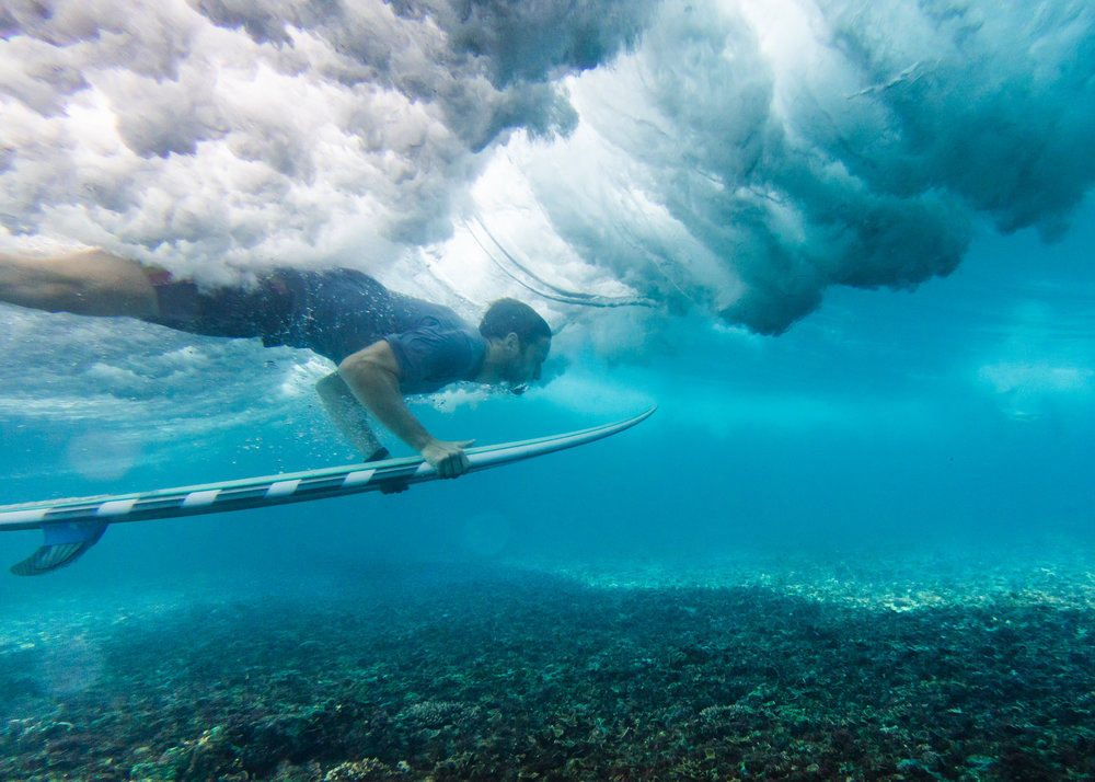 Underwater Blues. From the crash zone at Mawi beach