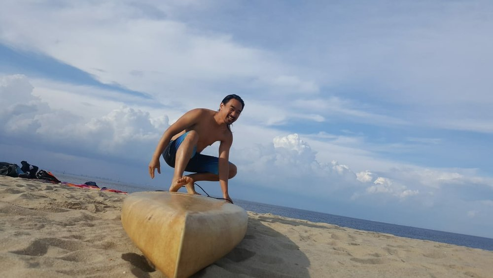 Keith Tsang practices sand surfing at Sandy Hook!           (Photo courtesy of Kirsten Brink)