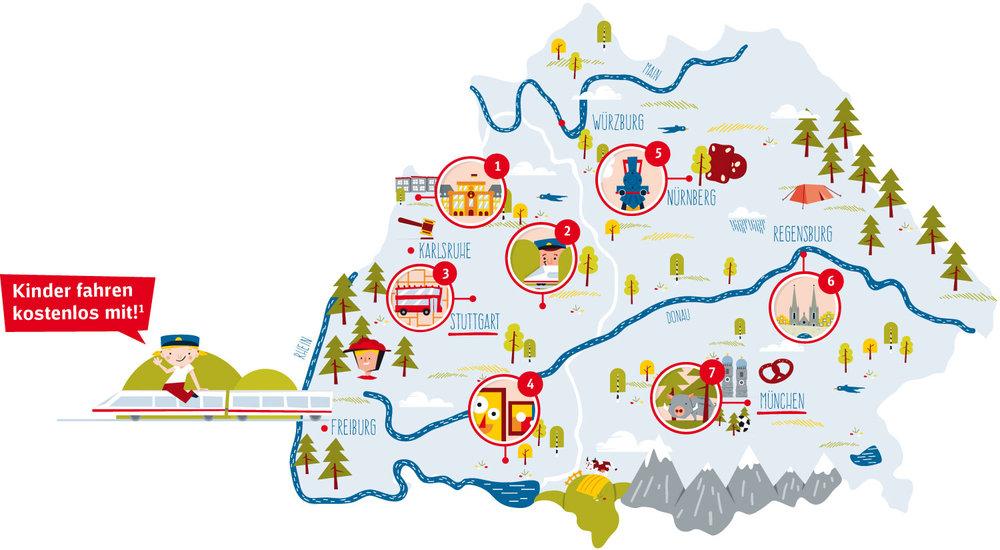 Landkarte Illustration Ostdeutschland für Kinder von Elisabeth Deim