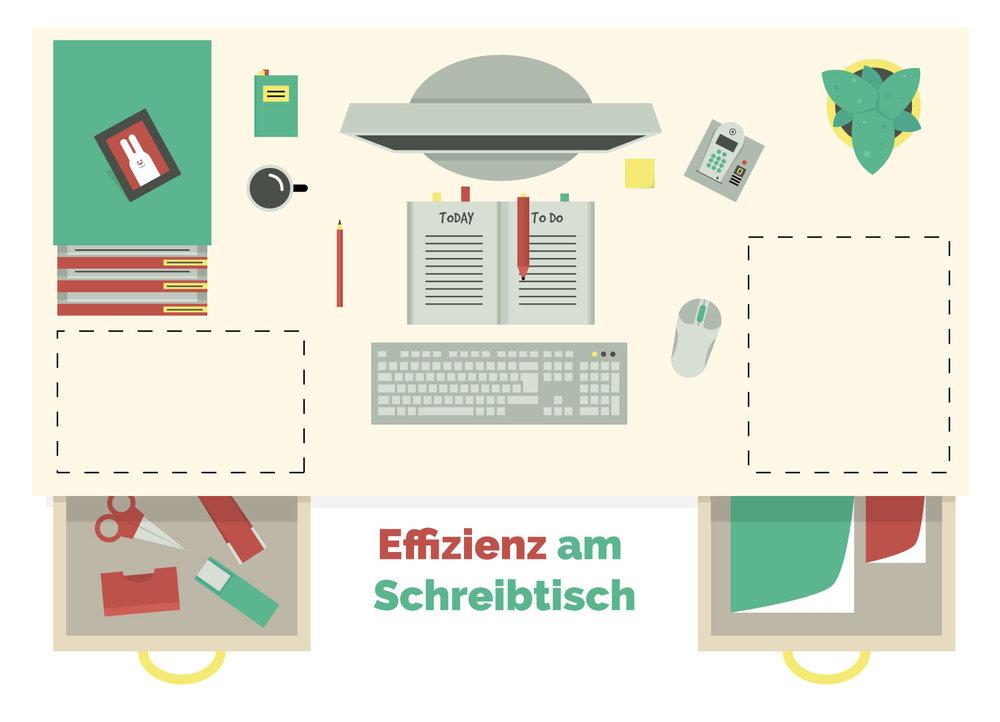 Titelillustration eines Büro zum Thema 'Effizienz am Schriebtisch' von Elisabeth Deim