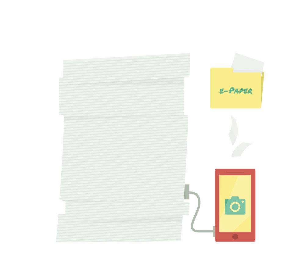 """""""Illustration eines Papierstapel mit Smartphone zum Thema 'Digitalisierung der Ablage' von Elisabeth Deim"""
