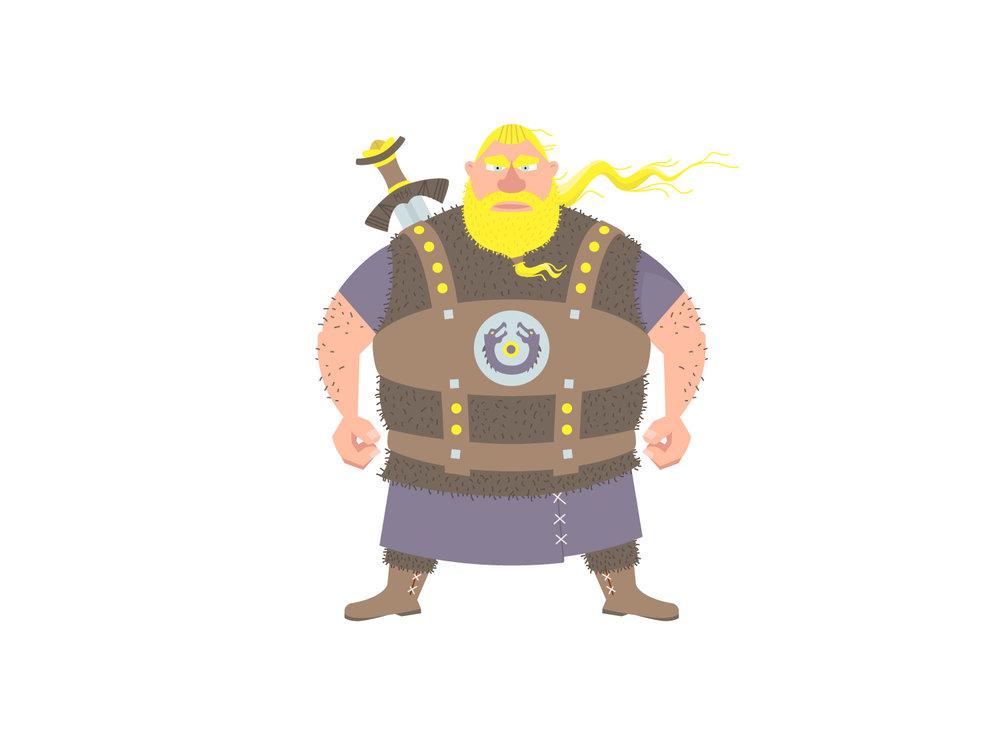 Color Blocking WIP des Character Design des Wikinger Ragnar von Elisabeth Deim