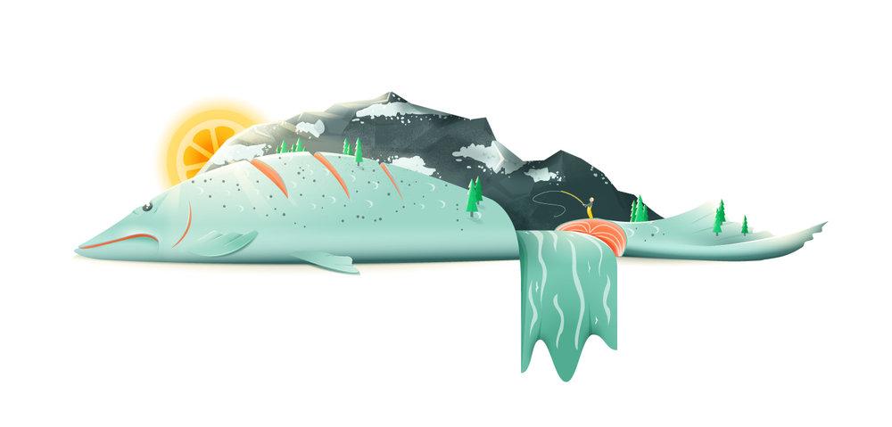 """Food Illustration eines Lachs als Landschaft """"Salmon River Hills"""" von Elisabeth Deim"""