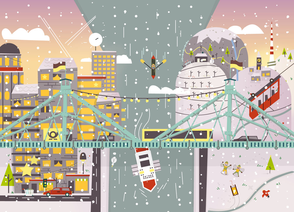 Wimmelbild Illustration von Dresden im Winter von Elisabeth Deim