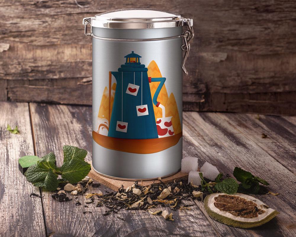 Illustration eines Leuchturms als Teekanne auf einer Teedose von Elisabeth Deim